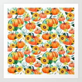 Pumpkins and Sunflowers with moths, watercolor botanical Art Print
