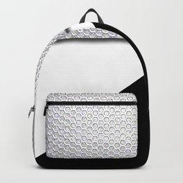 Black White & Metallic Mesh Geometric Pattern Backpack