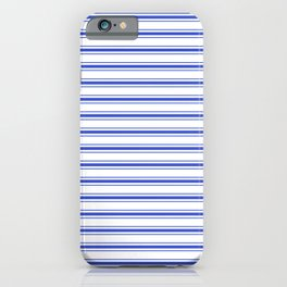Horizontal Cobalt Blue and White French Mattress Ticking Stripes iPhone Case