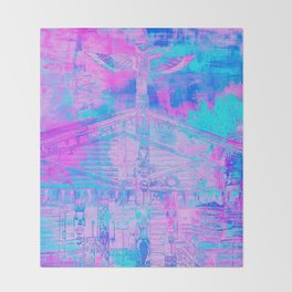 Totem Cabin Abstract - Hot Pink & Turquoise Throw Blanket