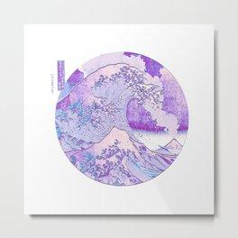Great Wave Off Kanagawa Volcano Eruption-Purple Metal Print