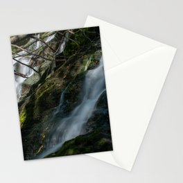 Waterfall in green forest with rocks at sunset	 Stationery Cards