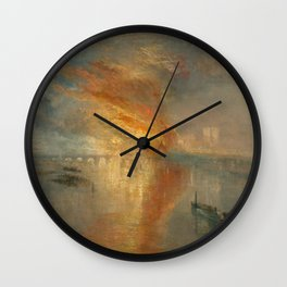 The Burning of the Houses of Lords and Commons, 16 October 1834- Joseph Mallord WIlliam Turner Wall Clock