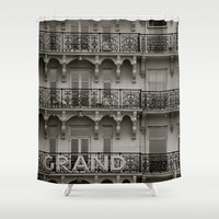 grand theft auto Shower Curtains featuring Grand by AnnaBobanna