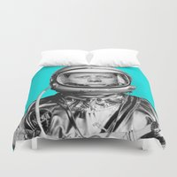 "jfk Duvet Covers featuring JFK ASTRONAUT (or ""All Systems Are JFK"") by Dan Levin's Objects of Curiosity"