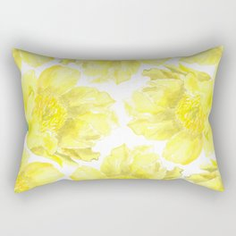 Yellow Peony Flower Pattern Rectangular Pillow