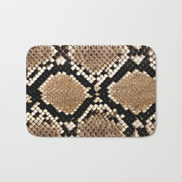 Pastel brown black white snakeskin animal pattern Bath Mat