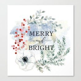 Merry and bright. Christmas wreath Canvas Print