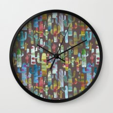 Watercolor Cacti - Browns Wall Clock