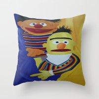 sesame street Throw Pillows featuring Sesame Street Bert and Ernie by ArtSchool