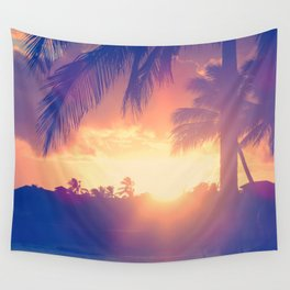 Hawaii Sunset Palm Tree Wall Tapestry