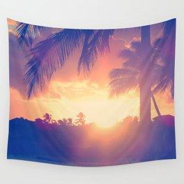 Hawaii Sunset Palm Tree Wall Tapestry