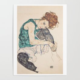 SEATED WOMAN WITH BENT KNEE - EGON SCHIELE Poster