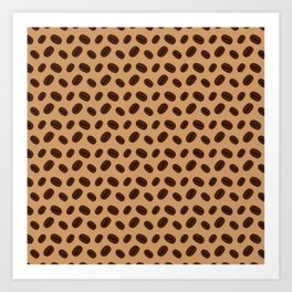 Cool Brown Coffee beans pattern Art Print
