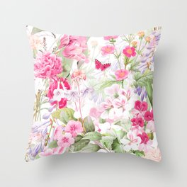 Vintage & Shabby Chic - Pastel Spring Flower Medow Throw Pillow