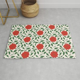 Vintage Floral in Red and Green Rug