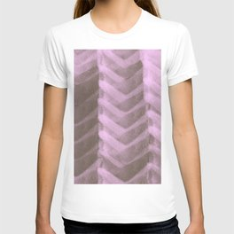 Blush Pink Panels over Chocolate Brown Background T-shirt