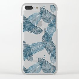 Blue Feathers Pattern Clear iPhone Case