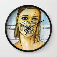 tenenbaum Wall Clocks featuring Margot Tenenbaum. by Piltrafadas Ilustracion