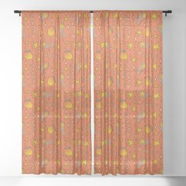 Taurus Mango Print Sheer Curtain