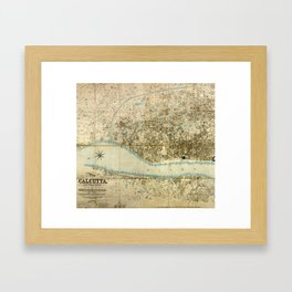 Map Of Calcutta 1857 Framed Art Print