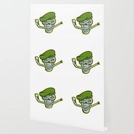 Green Beret Skull Ice Hockey Mascot Wallpaper