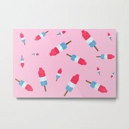 Popsicles - Retro Pattern - (pink background) Metal Print