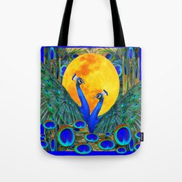 FULL GOLDEN MOON BLUE PEACOCK  FANTASY ART Tote Bag