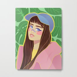 girl in pink hoodie Metal Print