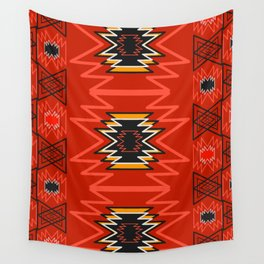 Ethnic lines in red Wall Tapestry