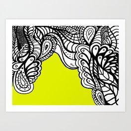 Green B&W Doodle  Art Print