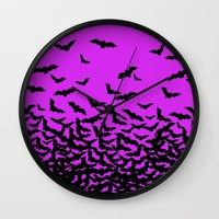 bats Wall Clocks featuring Bats by beach please