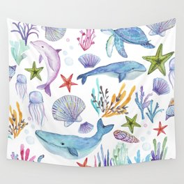under the sea watercolor Wall Tapestry