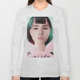 South Korean Girl With Hair Rollers and Bunny Ear Fan Portrait for K-Pop Lovers Long Sleeve T-shirt