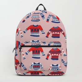 Christmas Sweaters – Red & Navy Palette Backpack