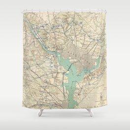 Vintage Washington DC Defenses & Forts Map (1895) Shower Curtain