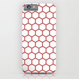 Honeycomb (Red & White Pattern) iPhone Case
