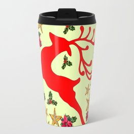 DECORATIVE LEAPING RED DEER  & HOLY BERRIES CHRISTMAS  ART Travel Mug