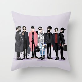 BTS airport fashion Throw Pillow