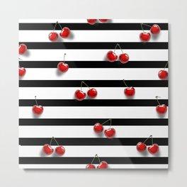 Cherry Stripes Metal Print