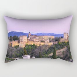 La Alhambra, Sierra Nevada and Granada. At pink sunset Rectangular Pillow