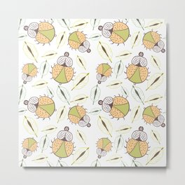 Little funny tick bug and leafs seamless pattern - light Metal Print