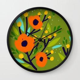 Leta Fl In Olive Green Vintage Retro Flowers Digital Painting Wall Clock