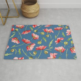Red Poppies, Illustration Rug