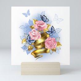 Pink Roses with Gold Ribbon Mini Art Print