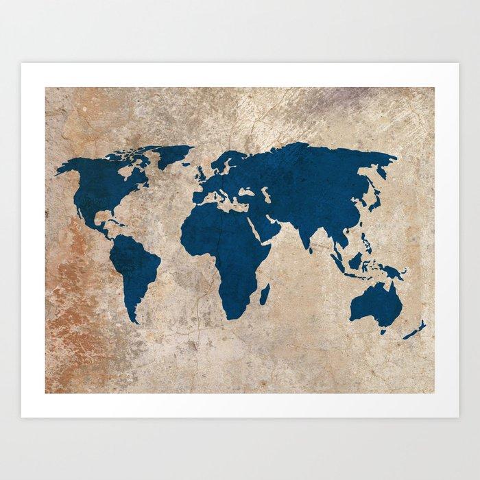 Rustic world map art print by bysamantha society6 rustic world map art print gumiabroncs Image collections