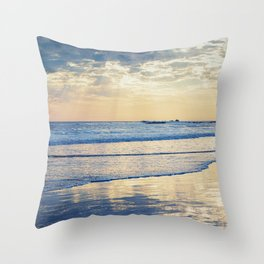 A Message From Above God Rays on Cayucos Beach Throw Pillow
