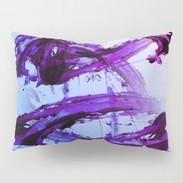 Soft Blue and Magenta Action Painting Pillow Sham
