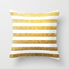 White and Gold Stripes  Throw Pillow