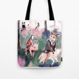 Pig riders Tote Bag